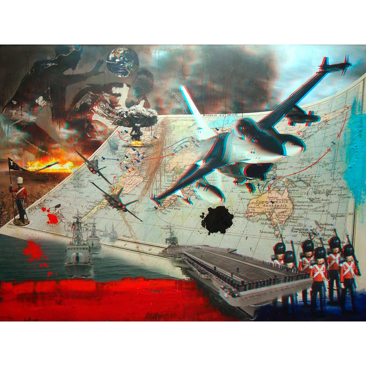 RAFAEL RECUERO - Risk (collage digital 3D y óleo sobre tabla)