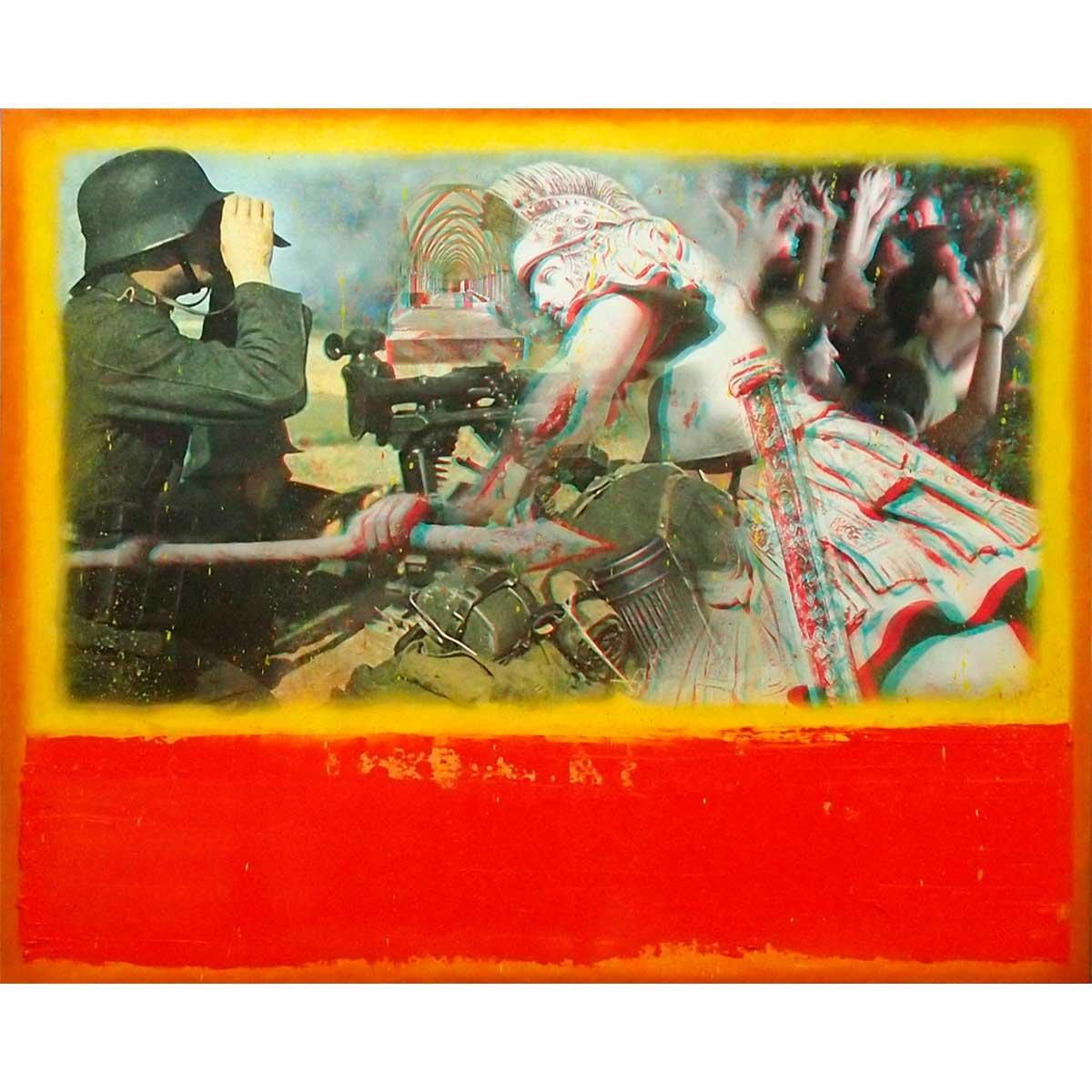RAFAEL RECUERO - Manipula (collage 3D y óleo sobre tabla)