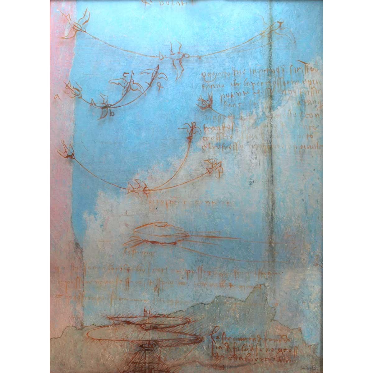 RAFAEL RECUERO - El Sueño de Leonardo (óleo y metacrilato sobre tabla)