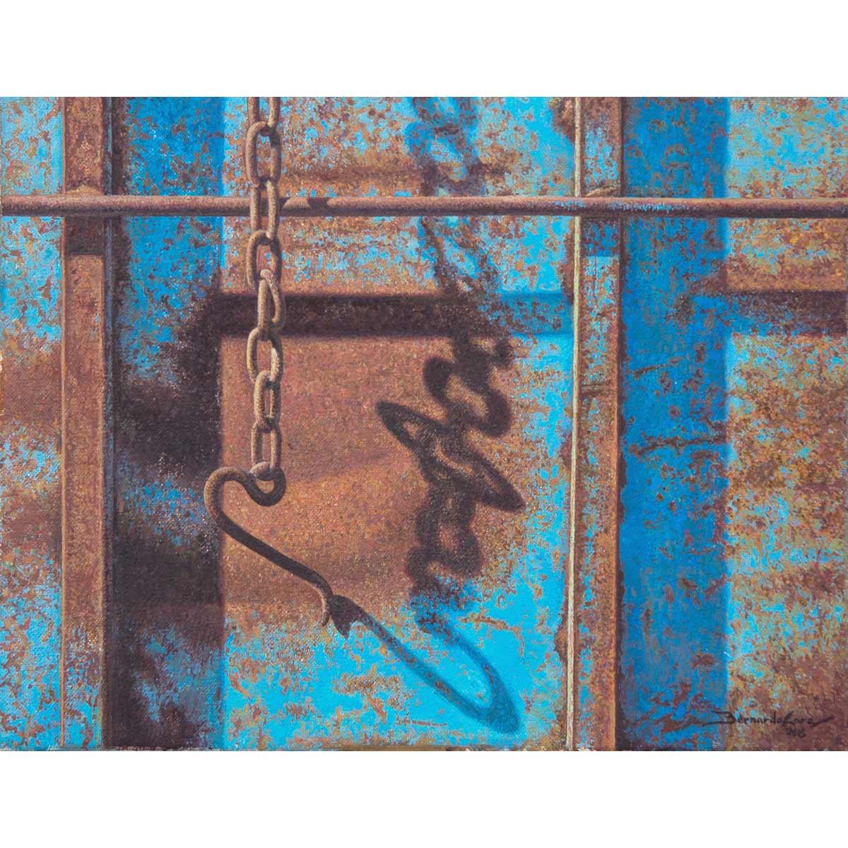 BERNARDO LARA - El gancho. Óleo sobre lienzo. 65x54cm.