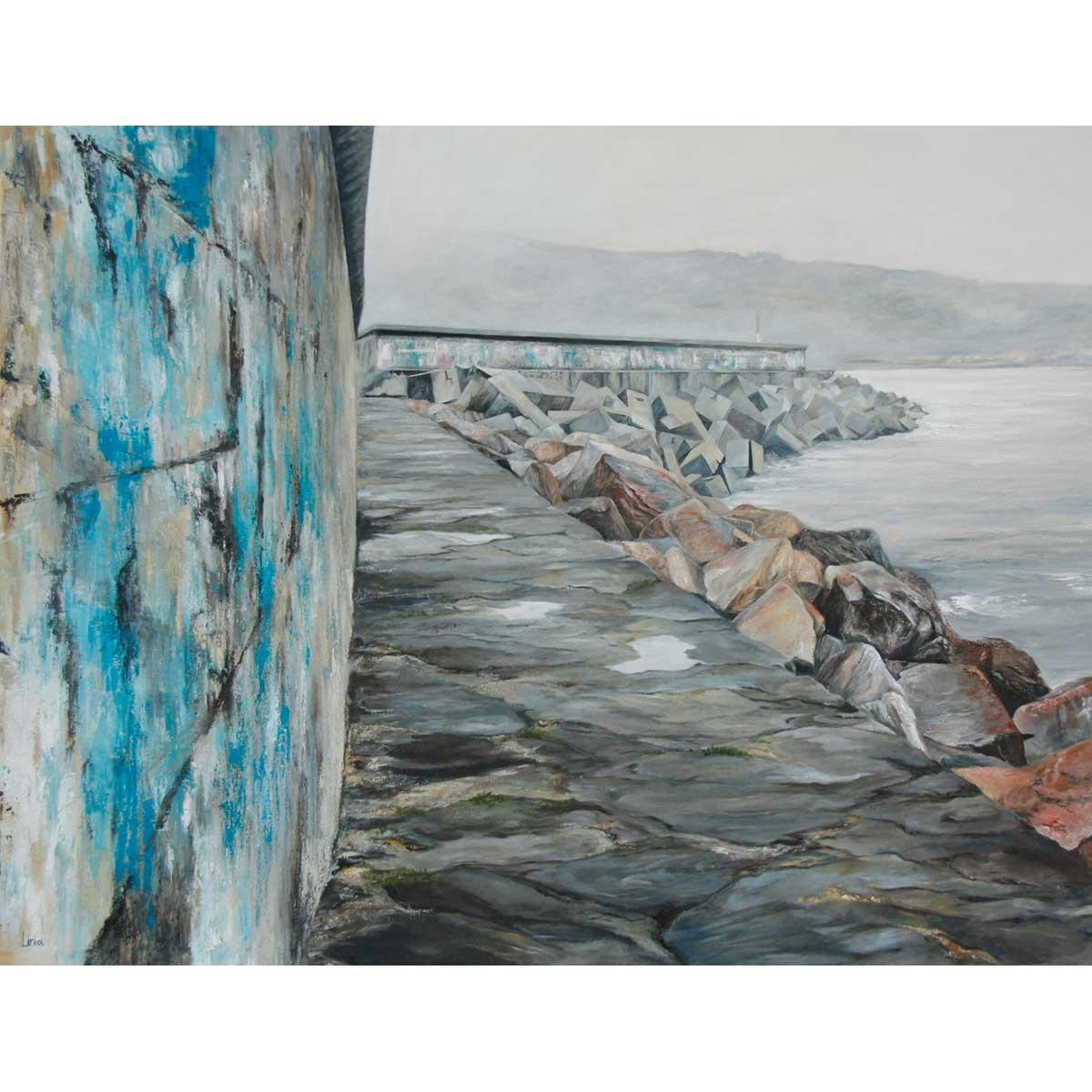 NURIA LIRIA - Tras el muelle de Corme. Óleo sobre lienzo. 100x130cm.
