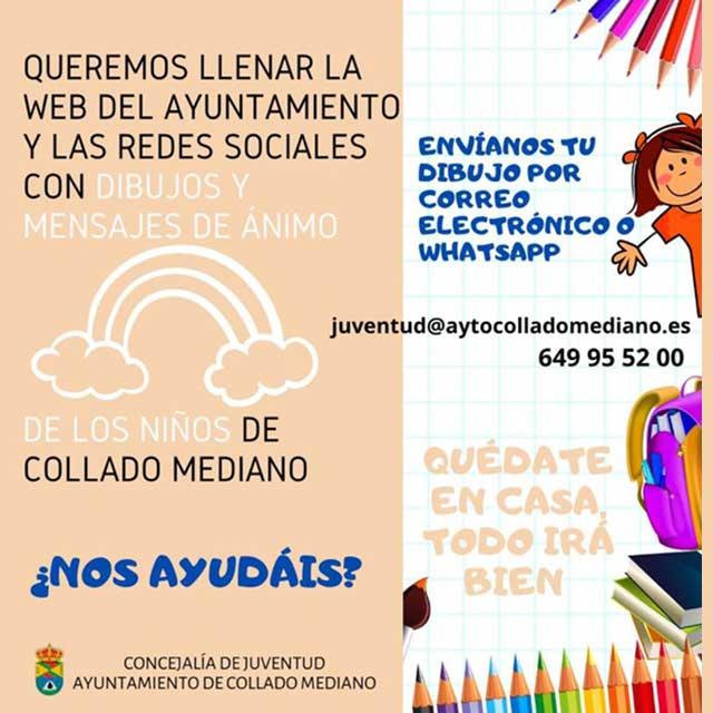 Dibujos y mensajes #YoMeQuedoEnCasa, en Collado Mediano.