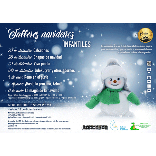Talleres infantiles: Navidad 2020, en Navacerrada.