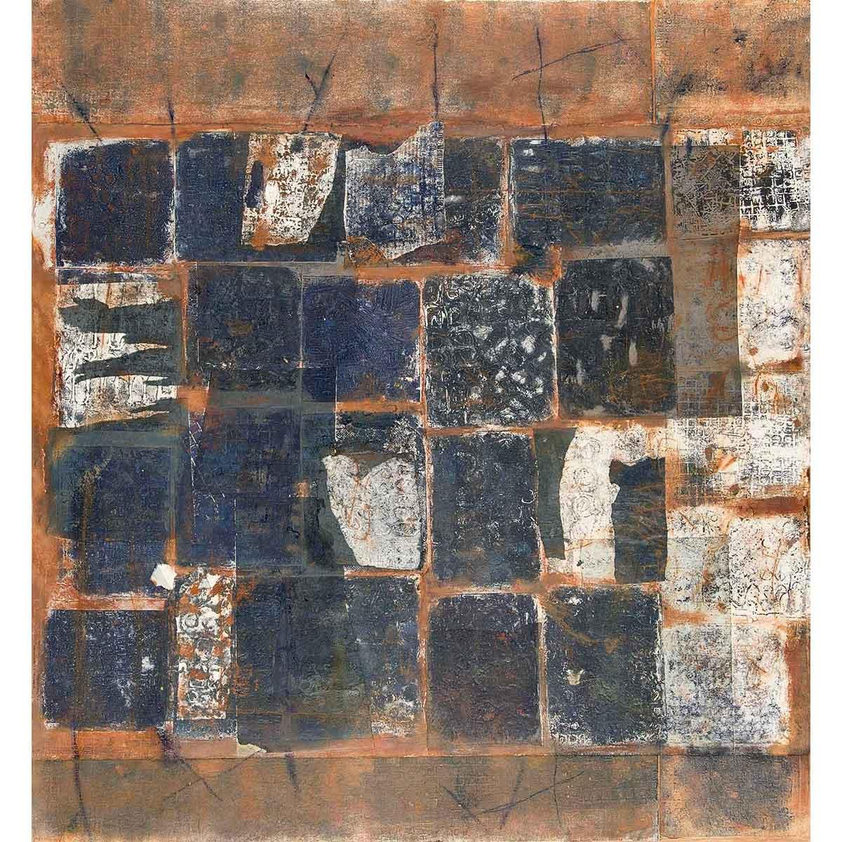 """ELENA G. CORTÉS - """"Experimento III"""" / Adición de materia. Collage sobre papel, 70x76cm."""