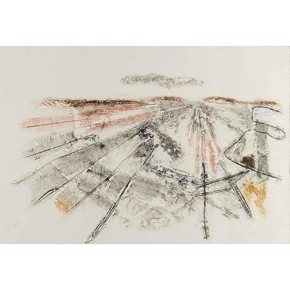 "ELENA G. CORTÉS - ""Paisaje extremeño II"" / Adición de materia sobre papel, 38x56cm."