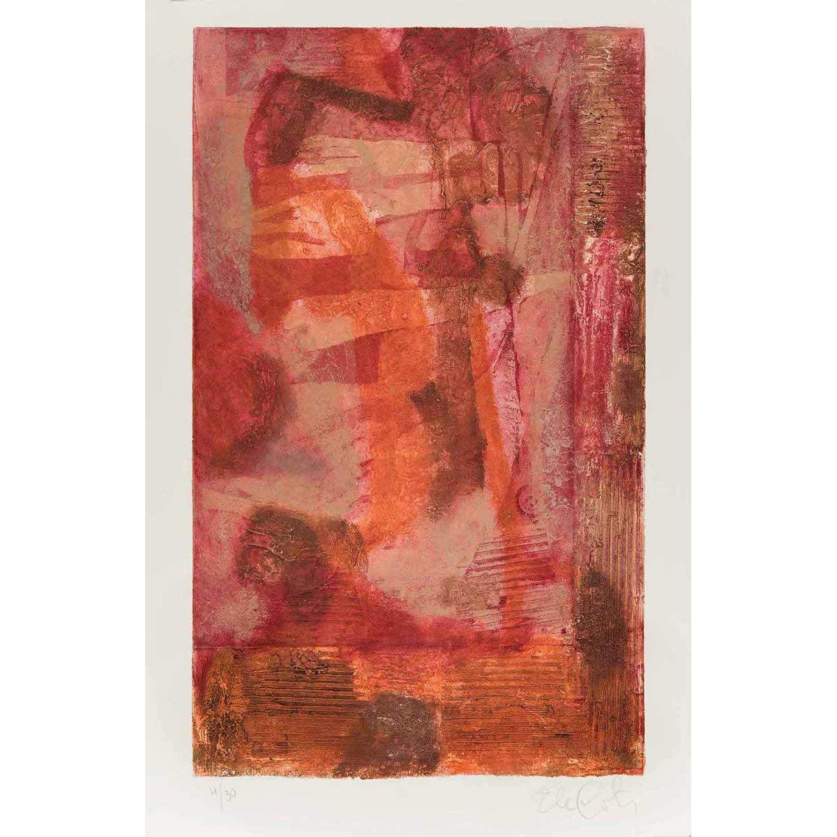 """ELENA G. CORTÉS - """"Pigmalión"""" / Aguatinta. Adición de materia sobre papel, 60x36,5cm."""