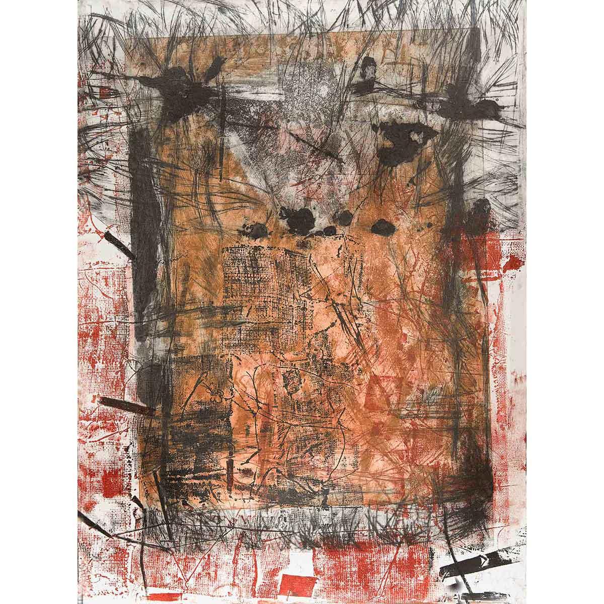 """ELENA G. CORTÉS - """"Puerta VI"""" / Aguafuerte. Adición de materia sobre papel, 76x56cm."""